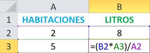Formula respuesta regla de tres simple directa en excel